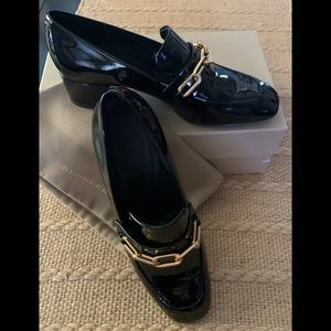 Burberry black patent leather shoes loafers